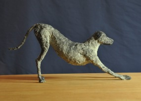 Jen Wright 'Downward Dog' paper mache 15x7x2.5 2010