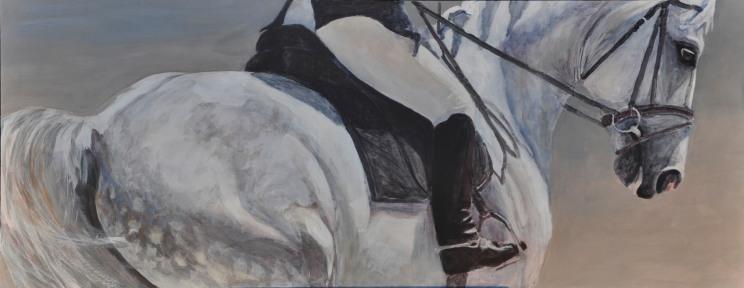 Jen Wright 'Half-Pass' Acrylic 19.75 x 50
