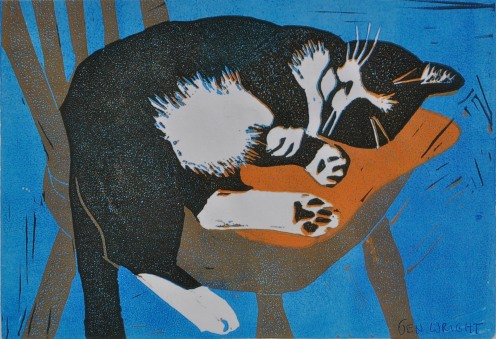 %22Whiskers%22 Jen Wright. Block Print. 5x7