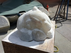 alabaster polar bear in progress